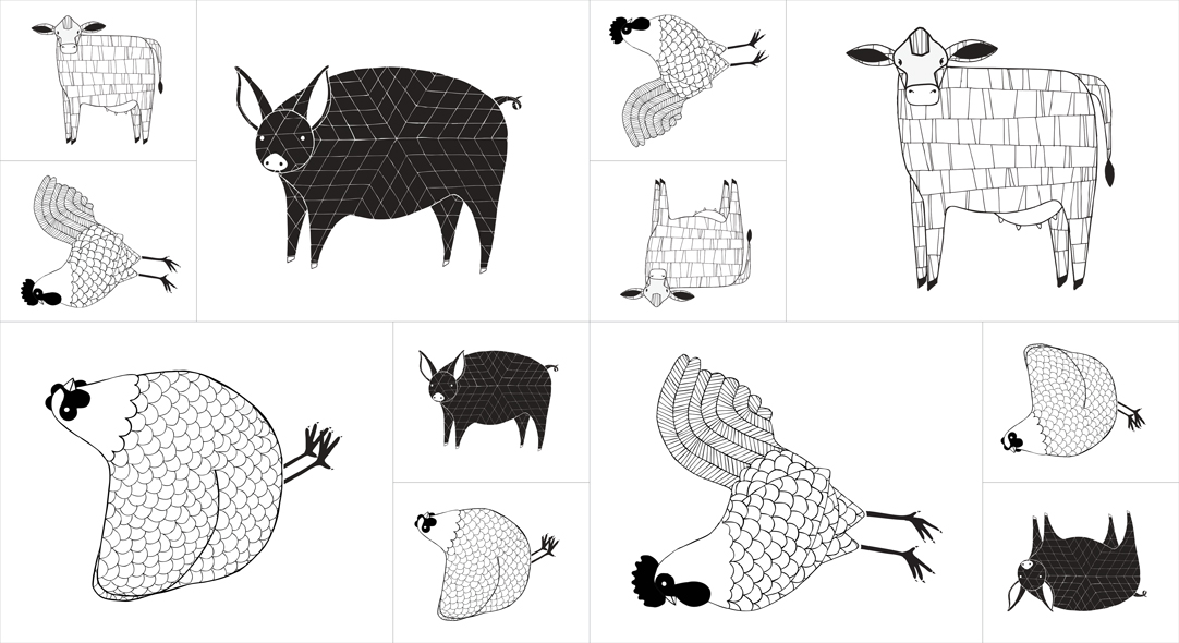 Farm Fresh Animals Panel - Black and White