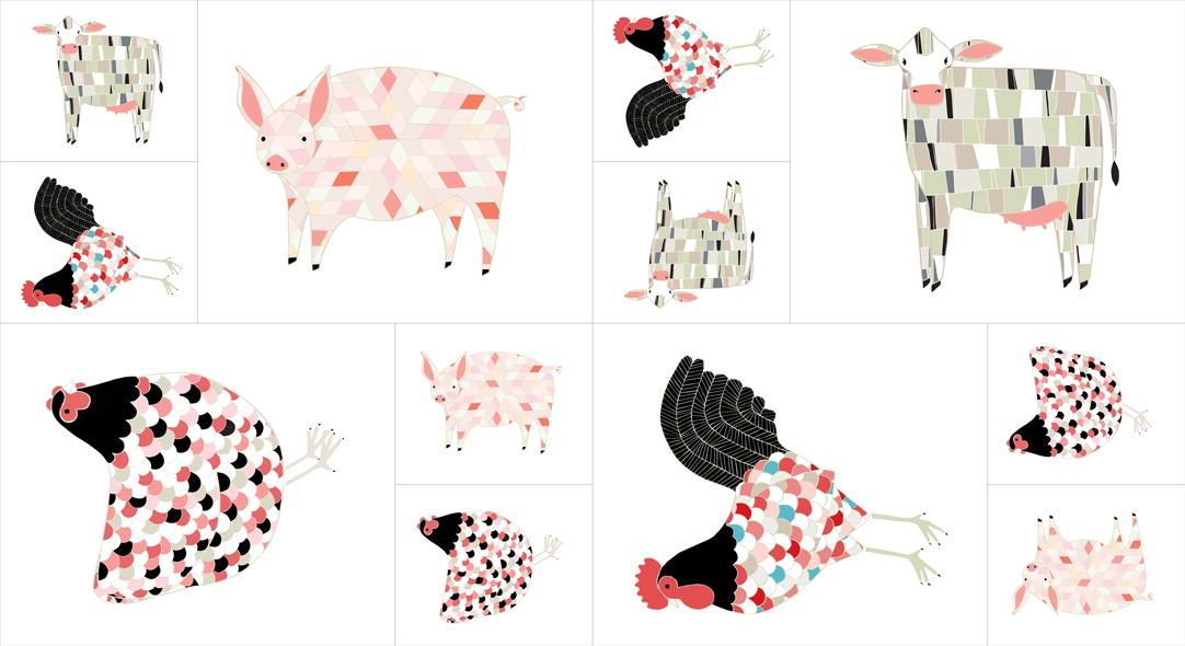 Farm Fresh Animals Panel - Multi