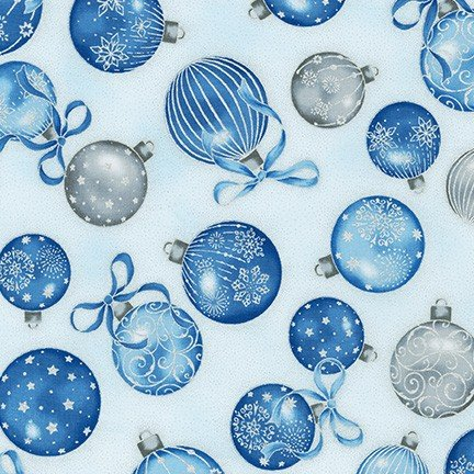 Holiday Flourish 13 - Blue Ornaments on Silver/White