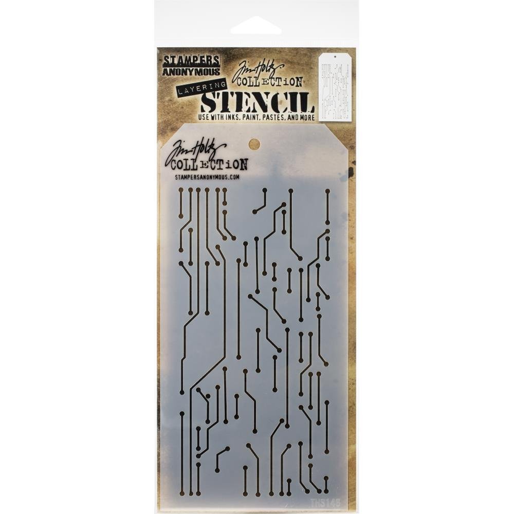 Tim Holtz Layered Stencil 4.125X8.5-Circuit -Layered