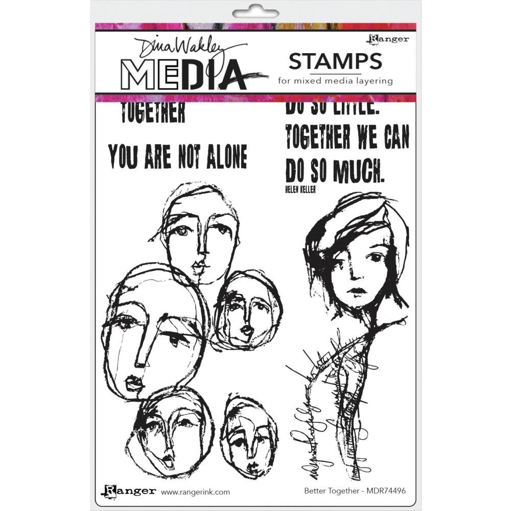 Dina Wakley Media Cling Stamps 6X9-Better Together