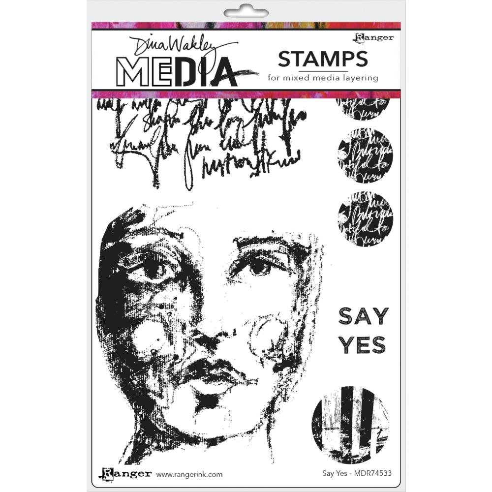 Dina Wakley Media Cling Stamps 6X9-Say Yes
