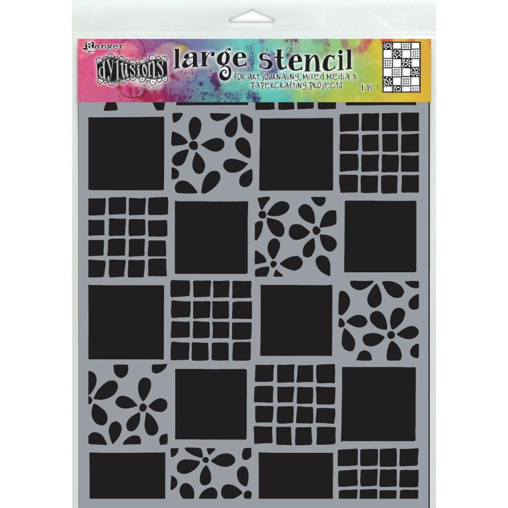 Dyan Reaveley's Dylusions Stencils 9X12-Square Dance