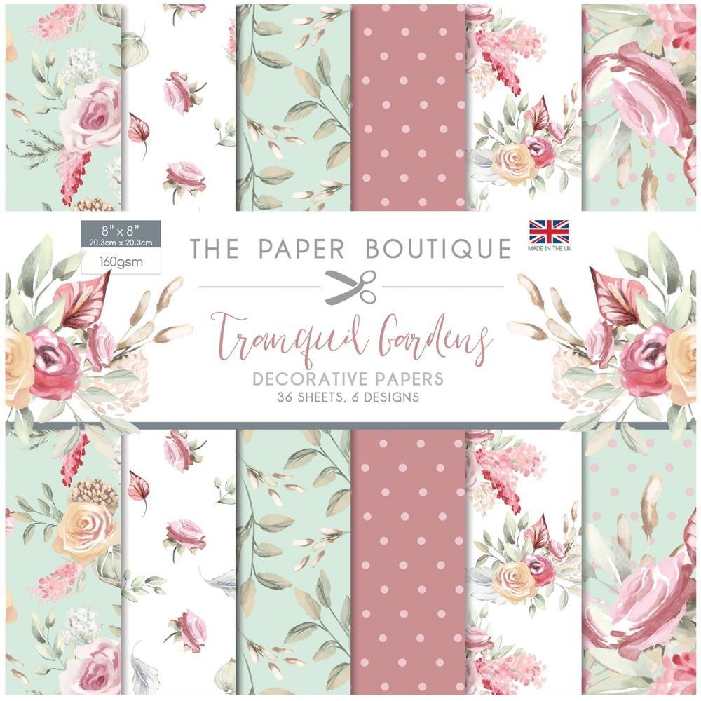 The Paper Boutique Paper Pad 8X8 36/Pkg-Tranquil Gardens, 6 Designs