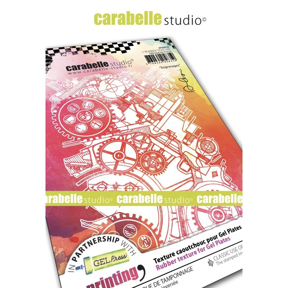 Carabelle Studio Art Printing A6 Rubber Texture Plate-Gears By Alexi