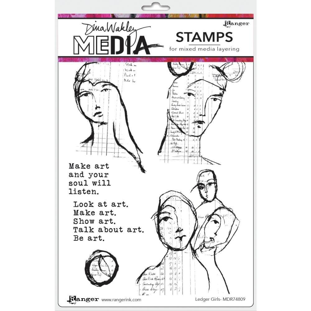Dina Wakley Media Cling Stamps 6X9-Ledger Girls