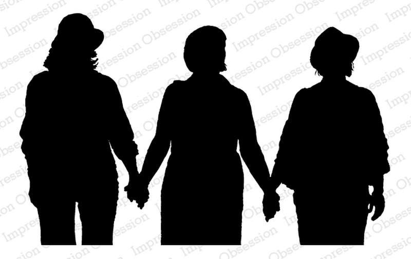 Impression Obsession Cling Stamp - Girlfriends Silhouette - F13755