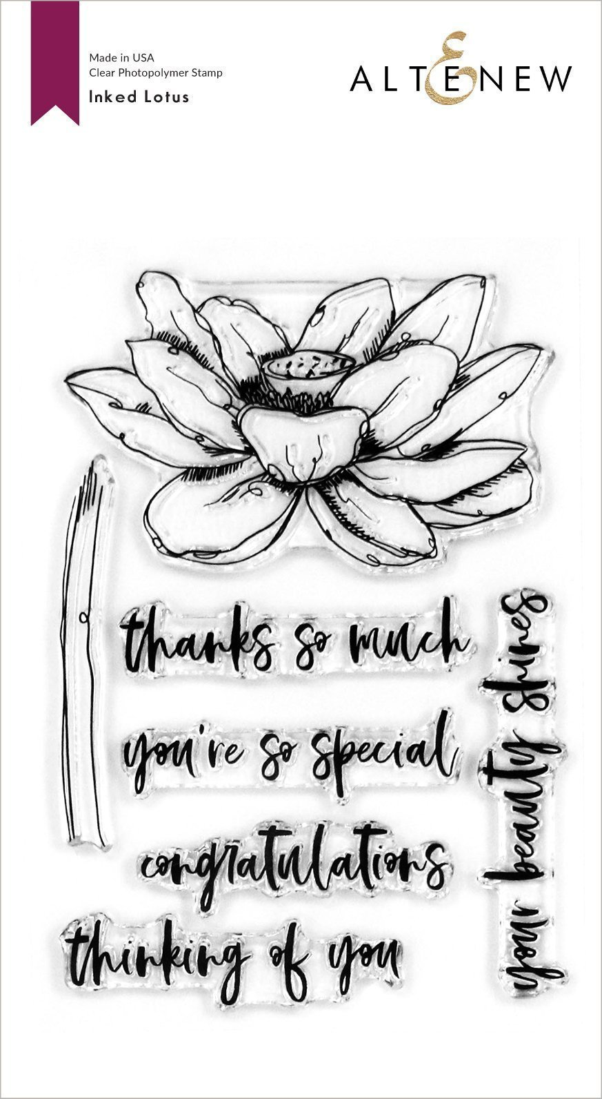 Altenew -  Clear Photopolymer Stamps -  Inked Lotus Stamp set