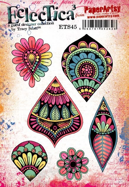 PaperArtsy - Tracy Scott 45 - Rubber Cling Mounted Stamp Set