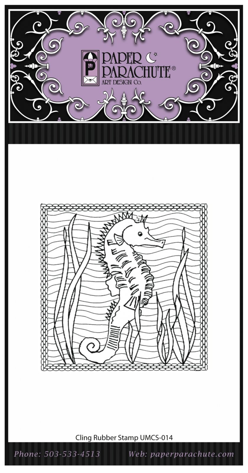 Paper Parachute Rubber Stamp - UMCS14