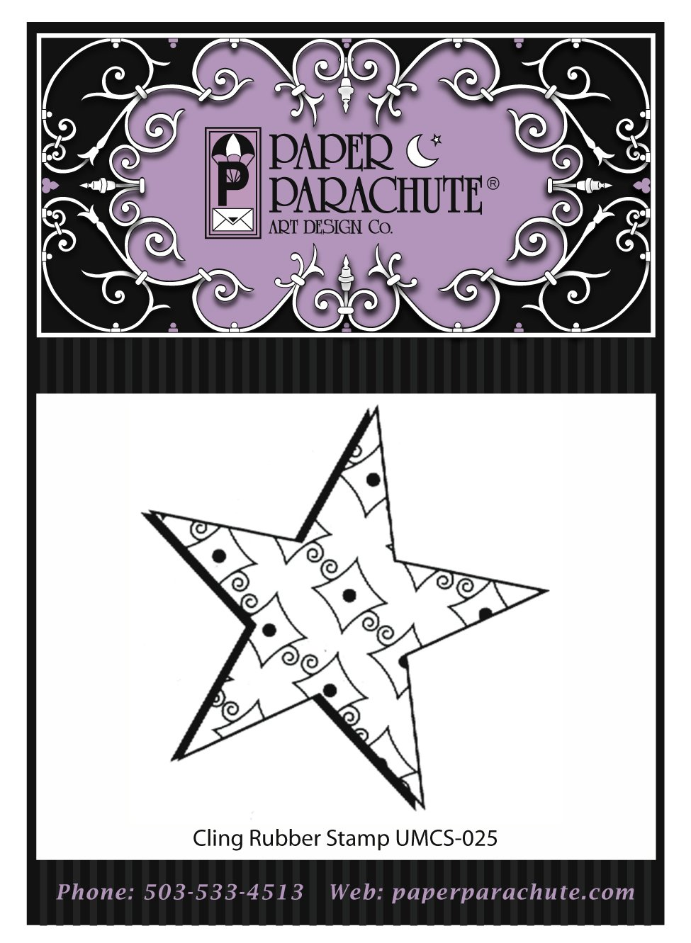 Paper Parachute Rubber Stamp - UMCS25