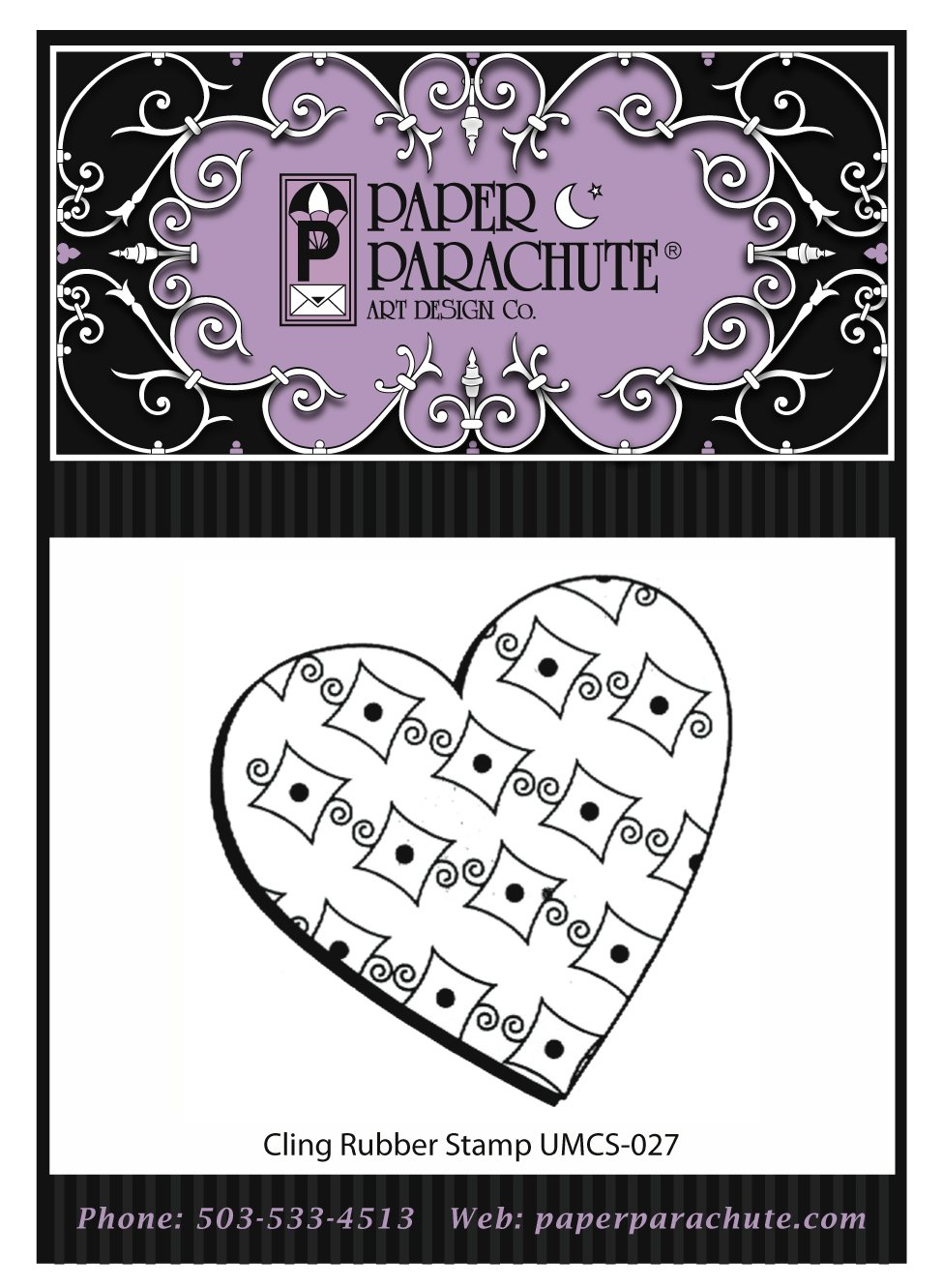 Paper Parachute Rubber Stamp - UMCS27