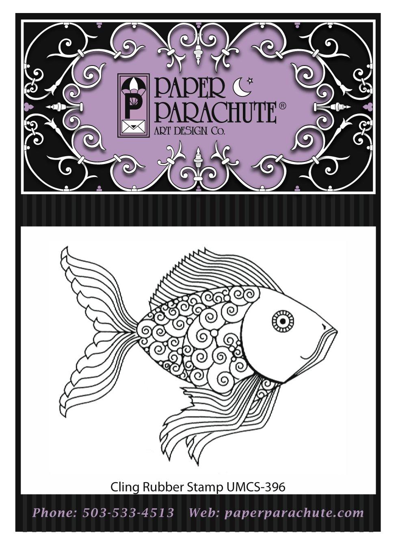 Paper Parachute Rubber Stamp - UMCS396