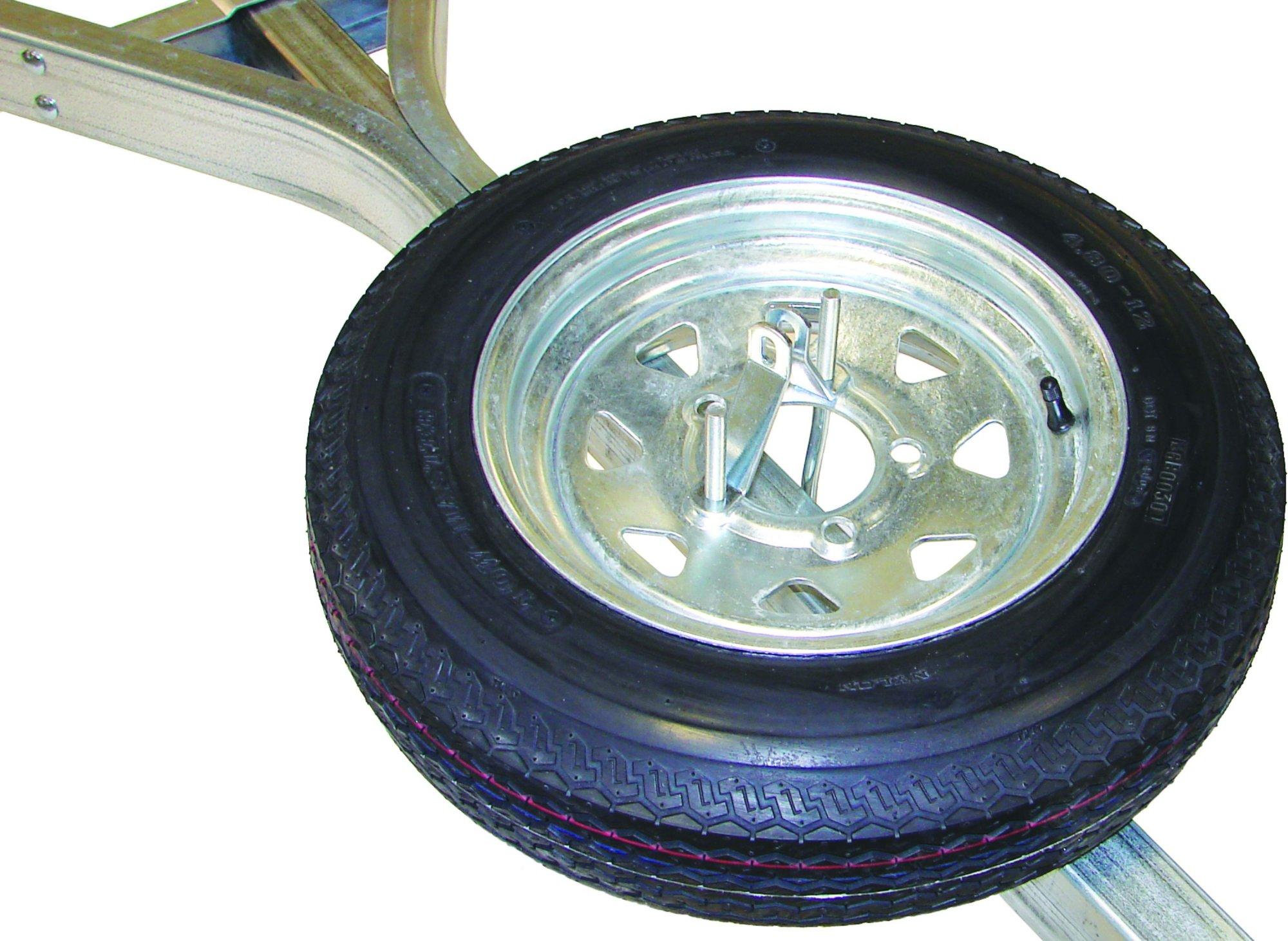 Malone Spare Tire for MicroSport Trailer - 12 Galvanized - Includes Lockable Attachment
