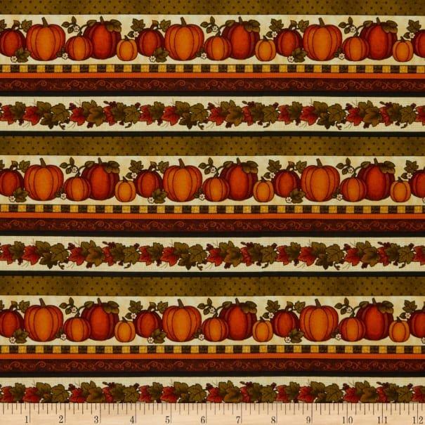Benartex Harvest Pumpkin - Stripe - Harvest Berry