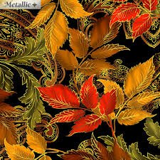 Benartex Radiant Leaves on Black with Metallic