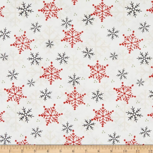 Gnomies by Shelly Cominsky for Henry Glass Fabrics - Snowflakes on White Background