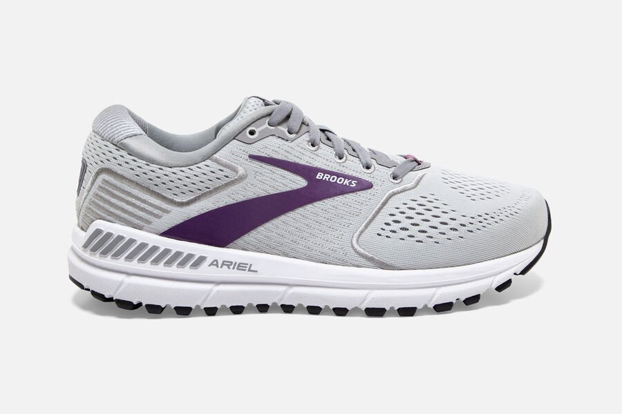Brooks- Women's- Ariel '20 - 009-Oyster/Alloy/Grape
