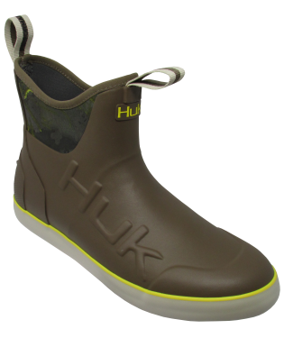 HUK - Men's Rouge Wave Rubber Boots - charcoal/blaze yellow