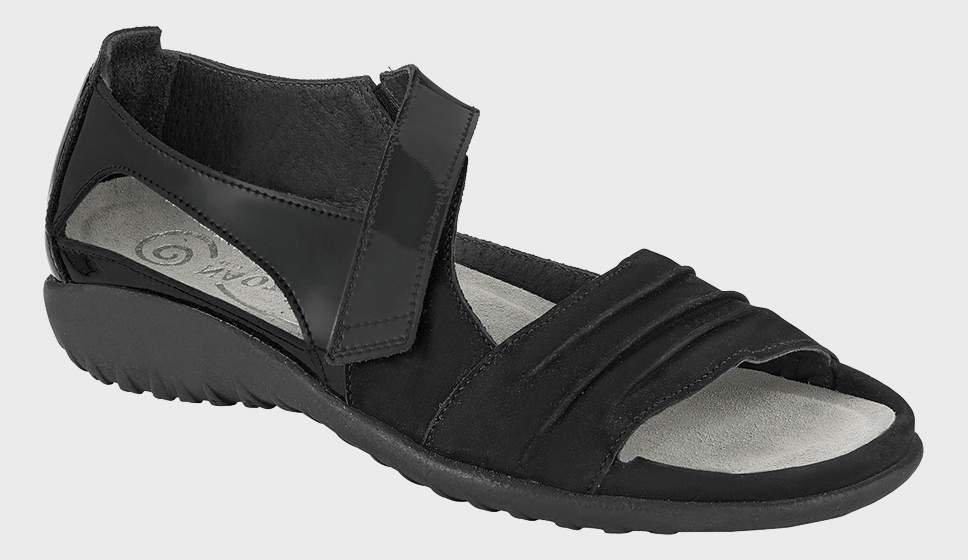 Naot Papaki - Black Velvet and Leather