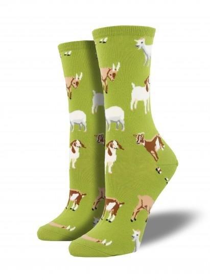 Women's goat socks on green