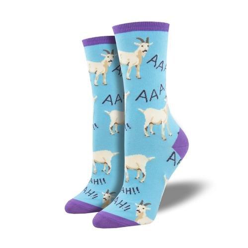 Women's goat socks on blue