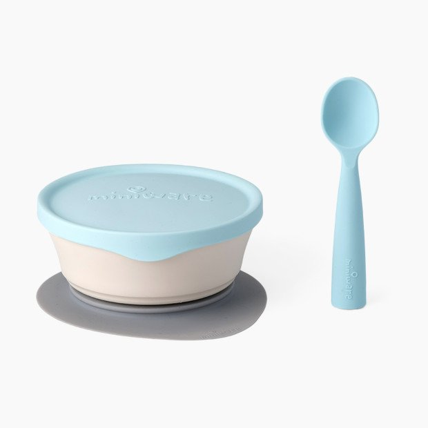 Kids bowl with lid & spoon  blue