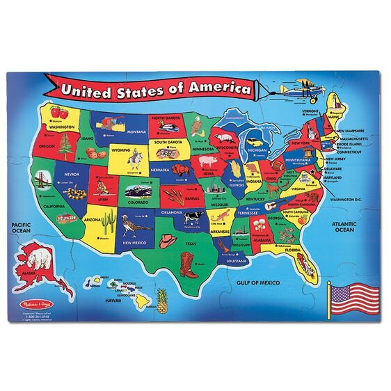 Puzzle Map of the USA 51 pieces