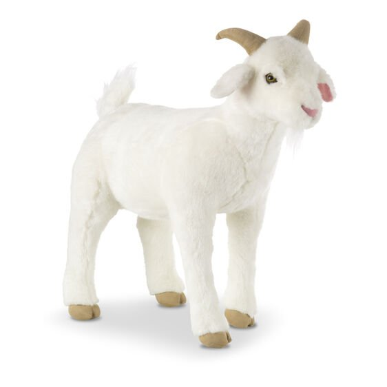 Large white plush goat