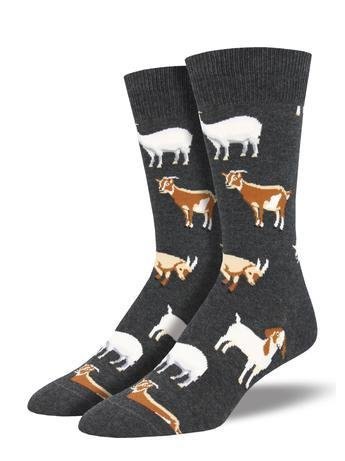 Women's goat socks on charcoal