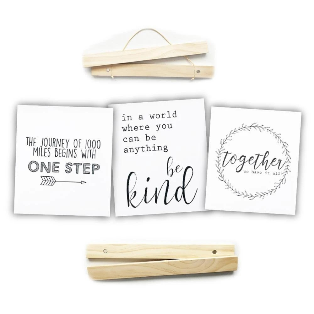Click Sticks - 12 Natural Set, 3 Prints (One Step, Be Kind, Together)