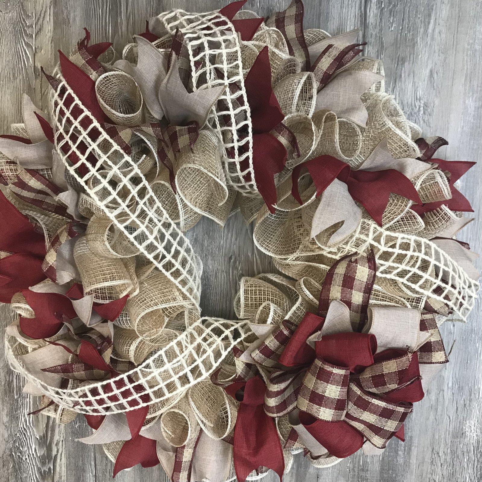 Burgundy And Natural Wreath With Cream Windowpane Ribbon