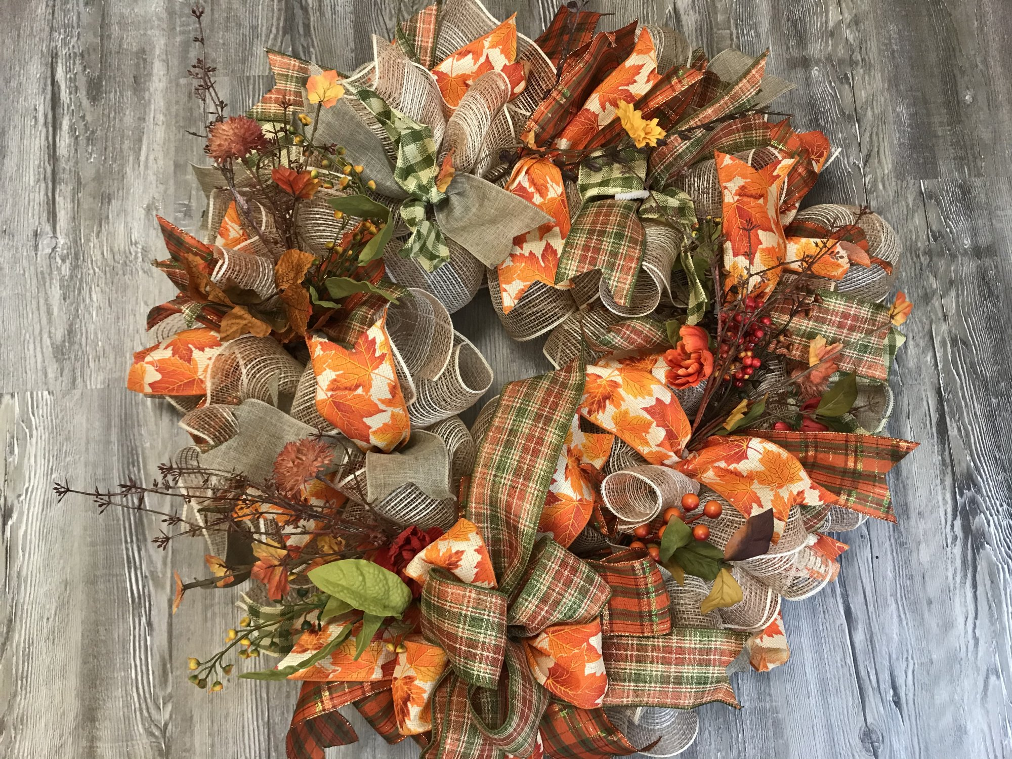 Fall Mesh and Floral Ruffle Wreath Kit - 24