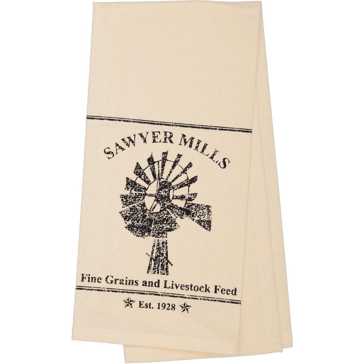 SAWYER MILL CHARCOAL WINDMILL MUSLIN UNBLEACHED NATURAL TEA TOWEL 19X28