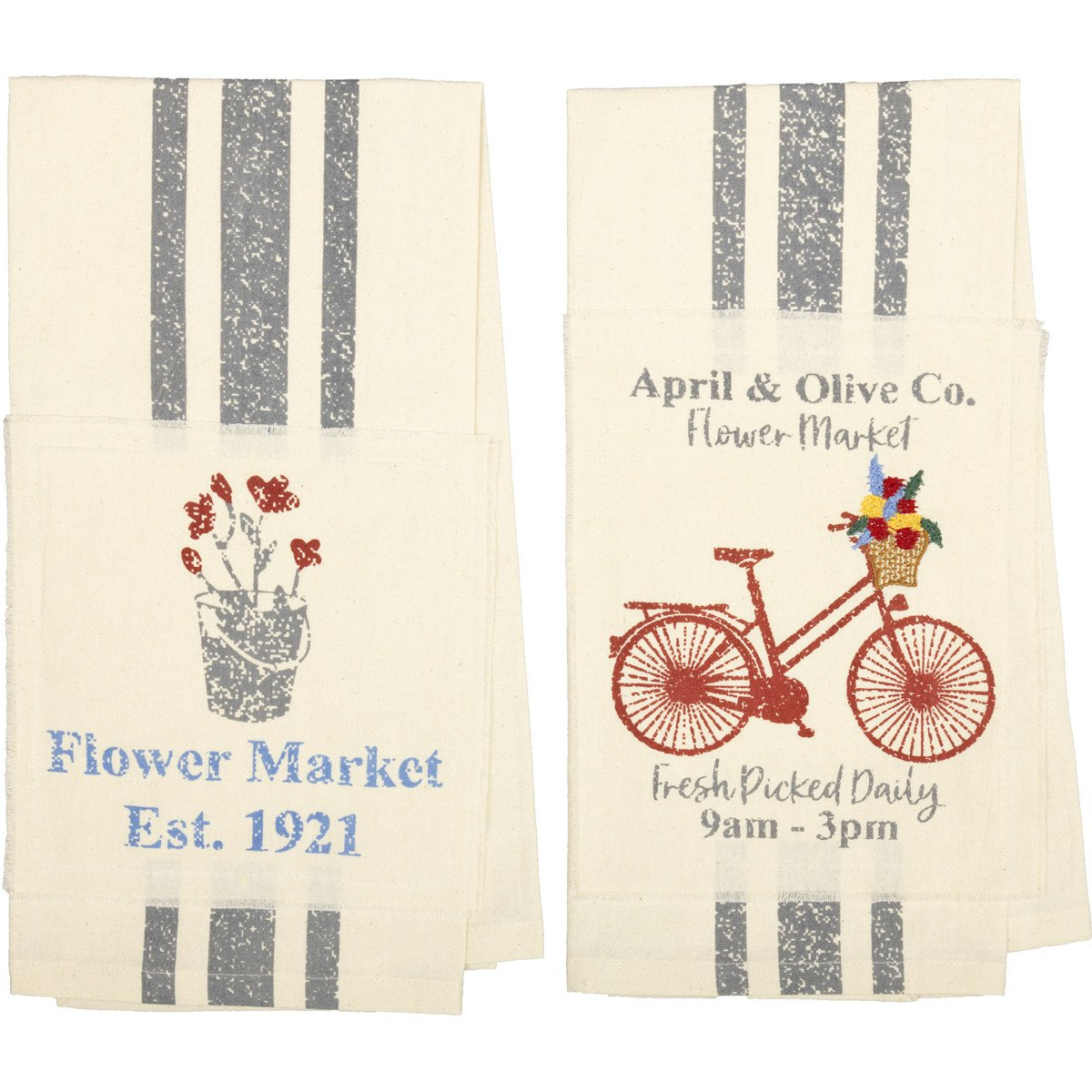 Farmer's Market Flower Market Unbleached Natural Muslin Tea Towel Set of 2 19x28 (1-Flower Pot; 1-Bicycle)