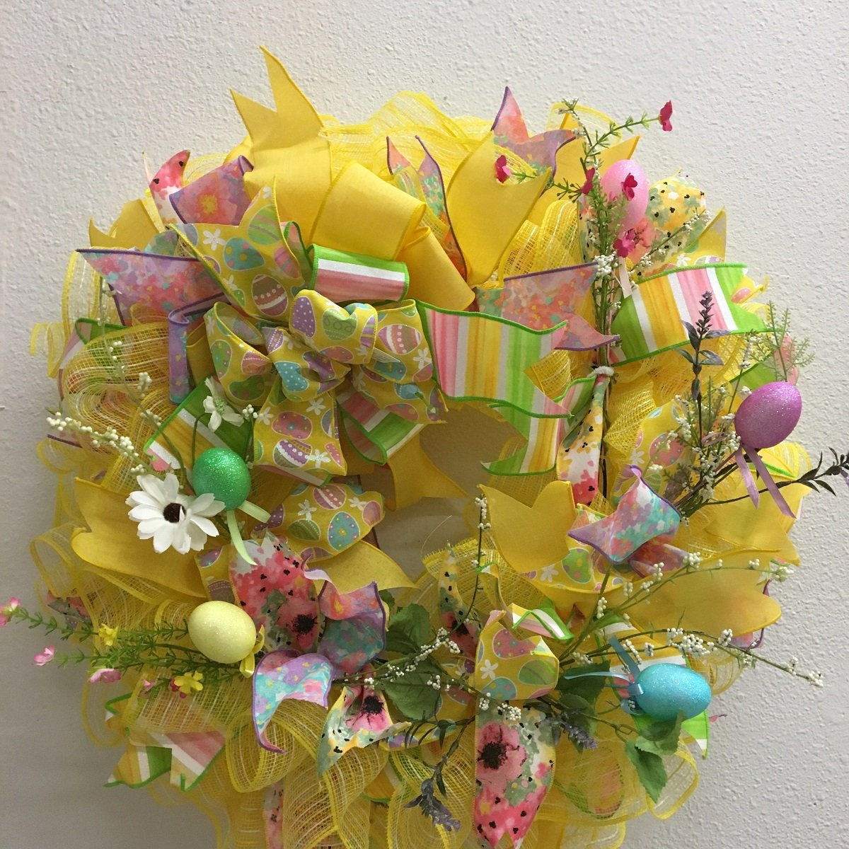 Easter Mesh & Floral Ruffle Ribbon Wreath