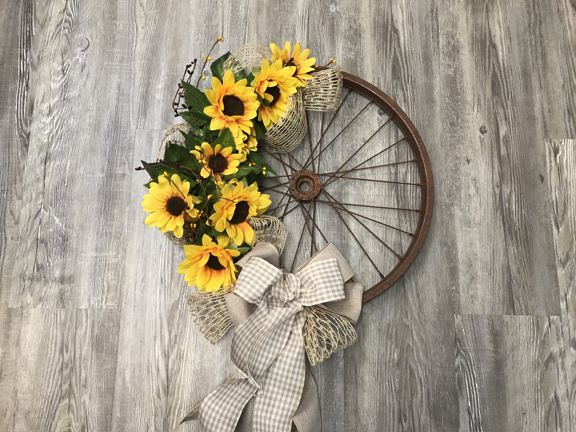 Sunflower Bicycle Rim Wreath