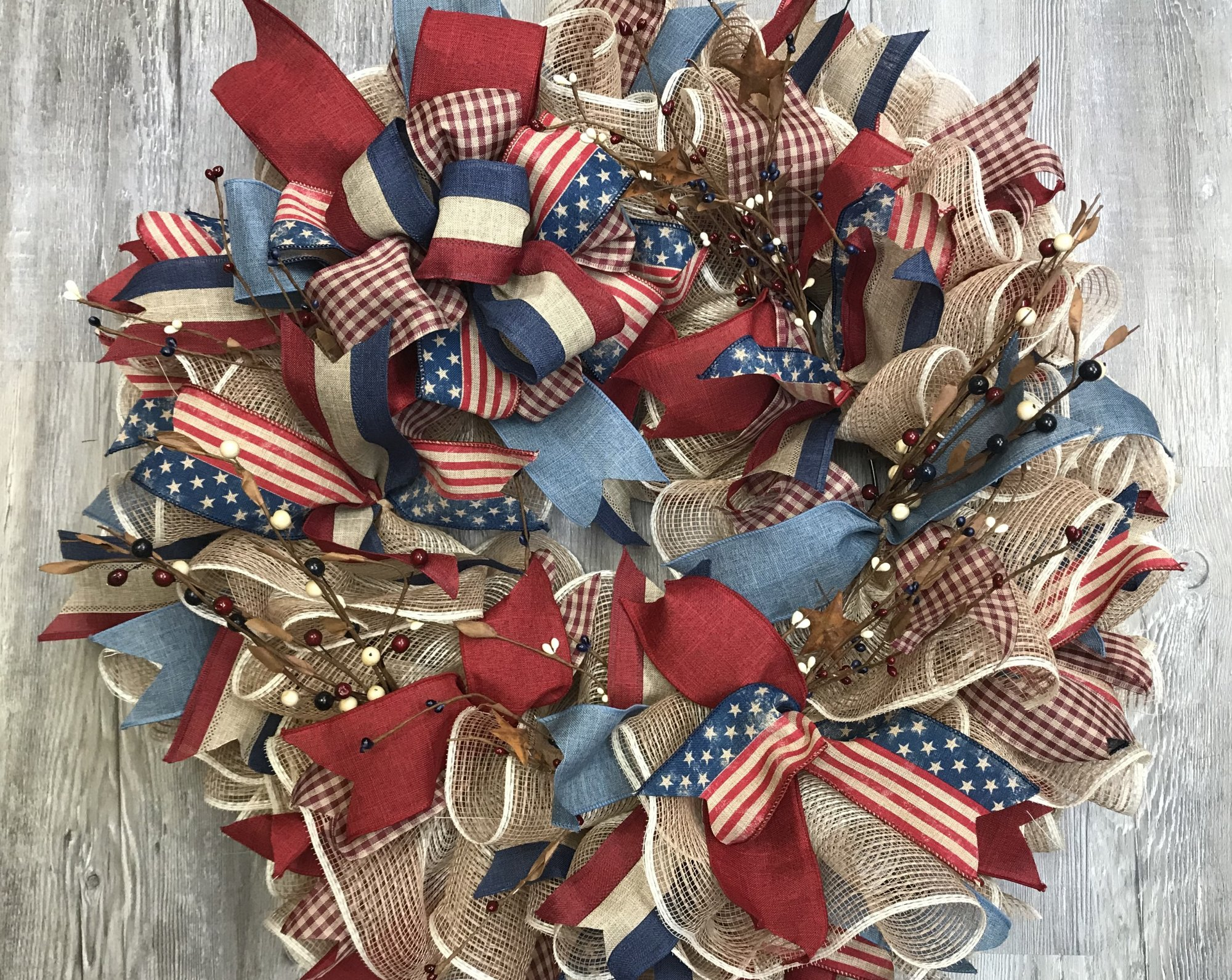 Faded Patriotic Ruffle Ribbon 24 Wreath Kit