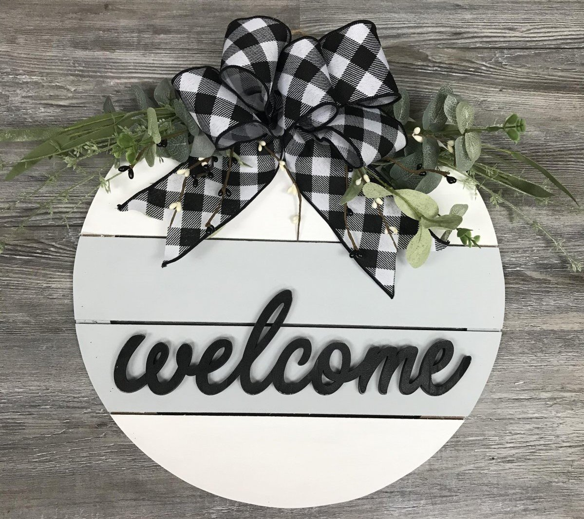 White and Buffalo Check Circle Welcome Sign