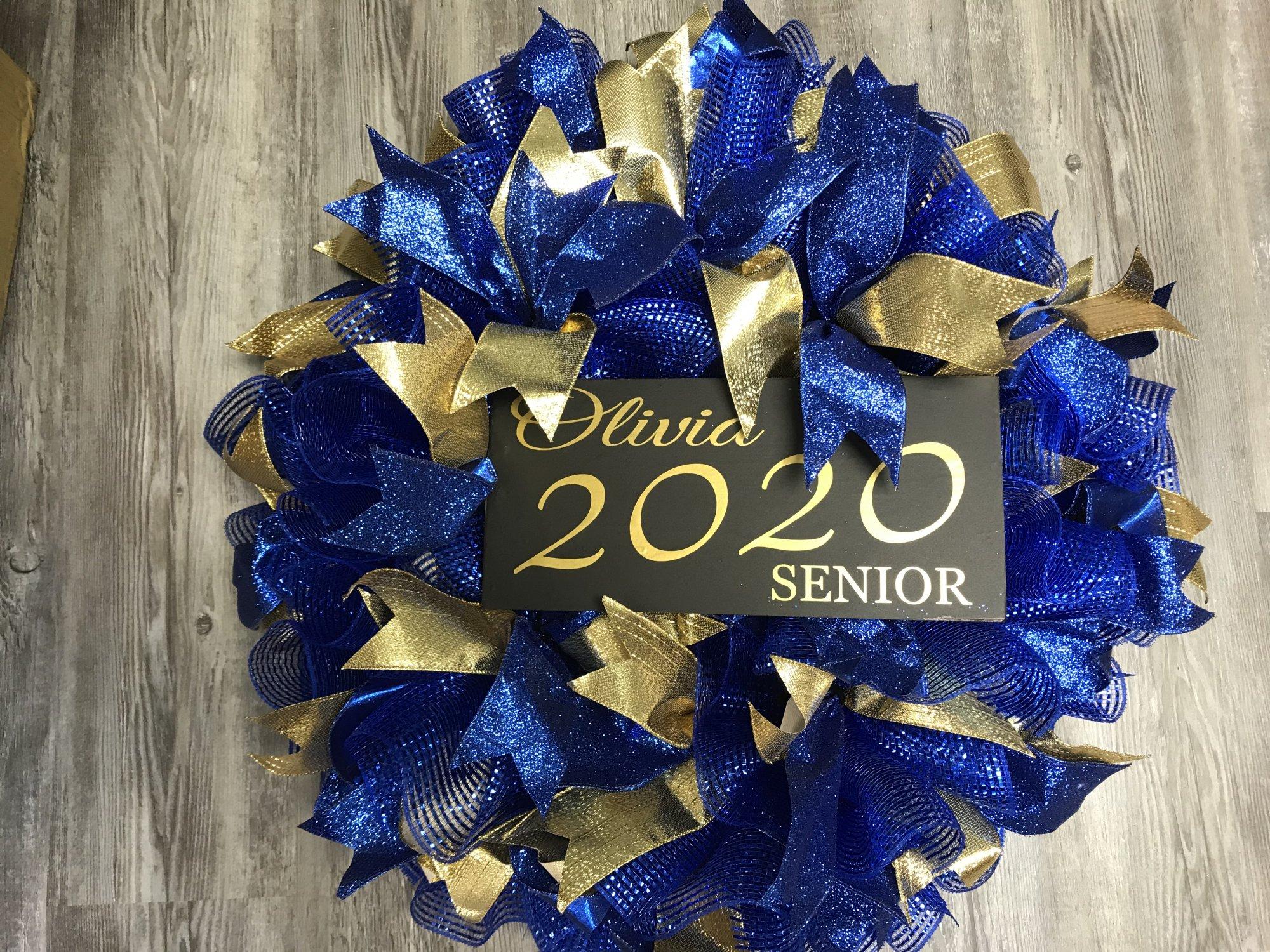 Personalized Senior Blue & Gold Wreath Kit