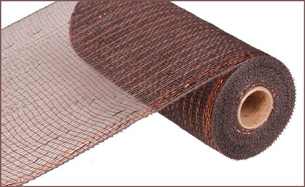 Metallic Value Mesh 10.5 Wide - Chocolate W/Copper Foil