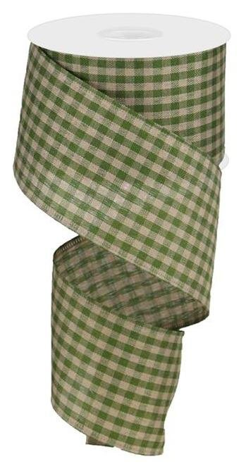 Gingham Ribbon Wired Ribbon 2.5 - Moss Green/Tan