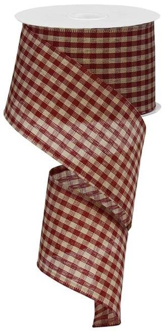 Gingham Ribbon Wired Ribbon 2.5 - Red and Tan