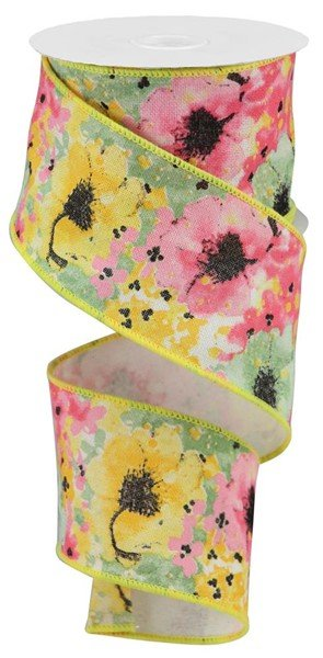 Painted Floral on Cotton Royal 2.5 Ribbon