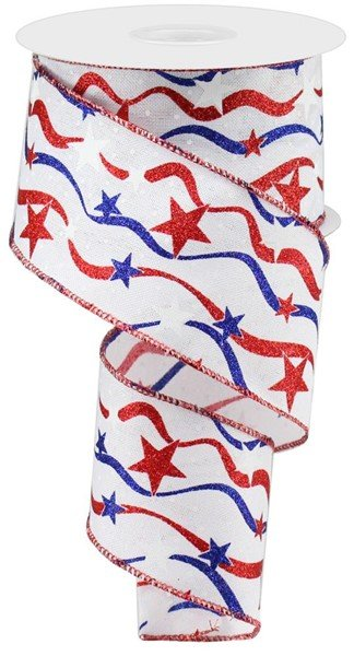 Stars And Wavy Stripes/Royal Wired Ribbon -  2.5