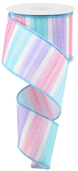 Watercolor Stripes/Royal Wired Ribbon 2.5