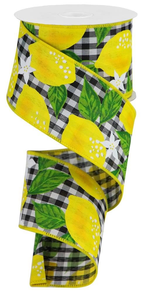 Lemons On Check Wired 2.5 Ribbon - Yellow Black White