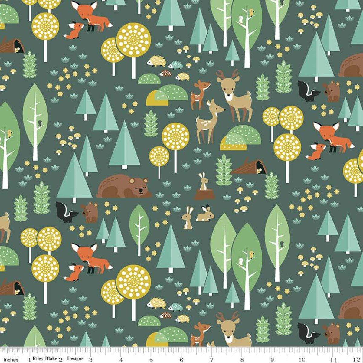 f10630-green Woodland Flannel