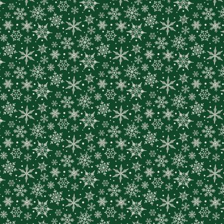 F9971-green Flannel Snowflakes