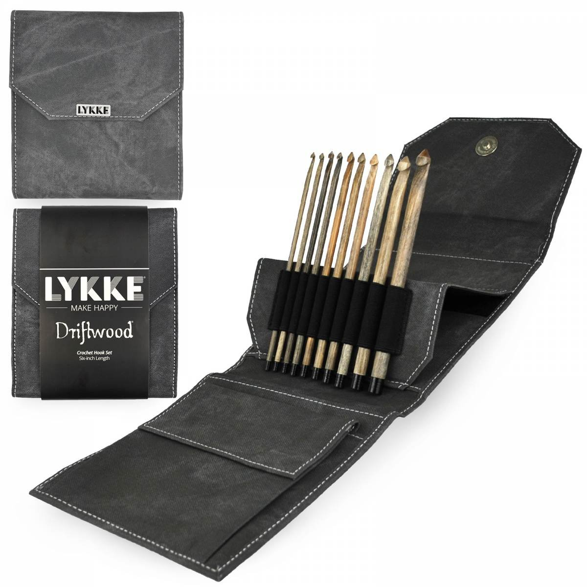Lykke Driftwood 6 Crochet Hook Set - Grey Denim